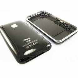 Coque arrière de remplacement iPhone 3GS noir avec contour chromé bezel