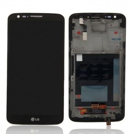 Vitre tactile, écran LCD assemblés avec cadre contours LG G2 D802