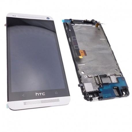 Ecran Lcd et vitre tactile sur Châssis grille avant argenté Silver HTC ONE M7